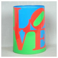 Rare 1970s LOVE Tin Litho Waste Basket Can Robert Indiana Art