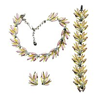 Enamel Floral Rods Parure Set Necklace Bracelet Earrings