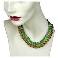 Vintage Hattie Carnegie Triple Strand Crystal Necklace - 3 Colors