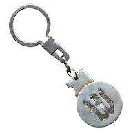 Vintage Taxco Mexican Sterling Silver Key Ring - Initial ~W~
