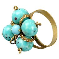 Vintage 18K Gold Ring w/ Turquoise Bead Baubles