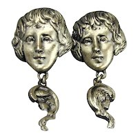 Vintage Goldette Art Nouveau Revival Earrings Gibson Girl Faces
