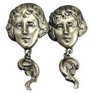 Vintage Goldette Art Nouveau Revival Earrings Gibson Girl Faces
