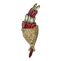 Vintage HOBE Rhinestone Torch Flower Pin Figural