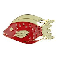 Big Whopper FISH Enameled Belt Buckle Signed Dotty Smith