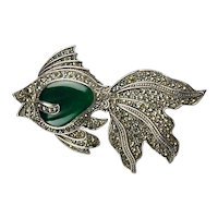 Art Deco Sterling Marcasite Fish Pin w/ Chrysoprase