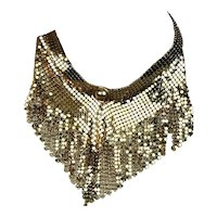 Vintage Gold-Tone Mesh Dangles Necklace Bib