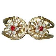 Vintage Art Deco Flower Rhinestone Hinge Bracelet