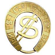Vintage Rolled Gold Horseshoe Money Clip Dollar Sign