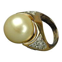 Vintage PANETTA Faux Pearl & Crystals Cocktail Ring