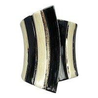 Vintage Wide 3.5 Inch Clamper Bracelet Enamel Black White Stripe