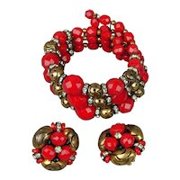 JONNE House of Schrager RED Glass Wired Memory Bracelet Earrings Set