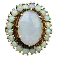 Vintage 14K Gold OPALS Opal Large Cocktail Ring Estate