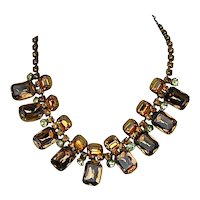 Big Chunky 1930s Amber Glass Rhinestone Necklace Art Deco Era