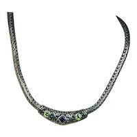 Vintage 925 Sterling Silver Heavy Cable Jeweled Necklace