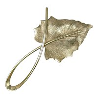 Modernist BEAU Sterling Silver Leaf Pin