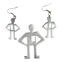 1980s Aluminum Outline Men Pin & Earrings Set Pop Art
