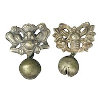 Antique Chinese Silver Button Bell Cufflinks - c1880s Qing