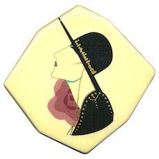 Vintage ~ Hat Girl ~ Ceramic Pin - Art Deco Style