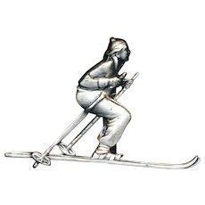 Vintage Skier Skiing Figural Pin Brooch c1950s