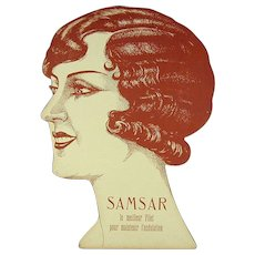 1920s Art Deco French Woman Hair Advertising Display
