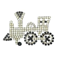 Vintage Rhinestone TRAIN Pin Brooch - Black / White Crystal