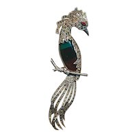 Big Sterling Silver Marcasite Bird of Paradise Pin Brooch