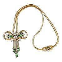 Art Deco Era Leo Glass Rhinestone Necklace