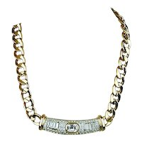 Bold Vintage Faux Gold & Rhinestone Necklace
