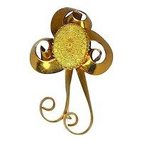 Big Art Deco Stylized Flower Pin w/ Czech Glass