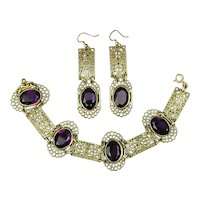 Vintage Brass Filigree Amethyst Glass Bracelet Earrings Set