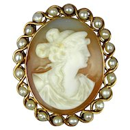 Art Deco Era 10K Gold Carved Shell Cameo Pin Pendant
