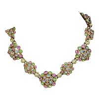 Colorful Vintage Pastel Crystal Rhinestone Necklace