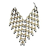 Vintage Festoon Bib Necklace Gilt Metal w/ Beads