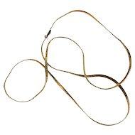 Estate Long 14K Yellow Gold Herringbone Chain Necklace