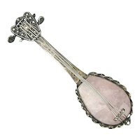 Vintage Sterling Silver Rose Quartz Banjo Mandolin Pin