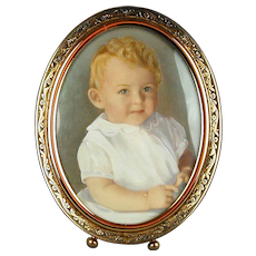Vintage Gilded Picture Frame w/ Tinted Baby Photo Portrait
