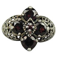 Vintage Sterling Silver Garnet Ring - Gorgeous Design
