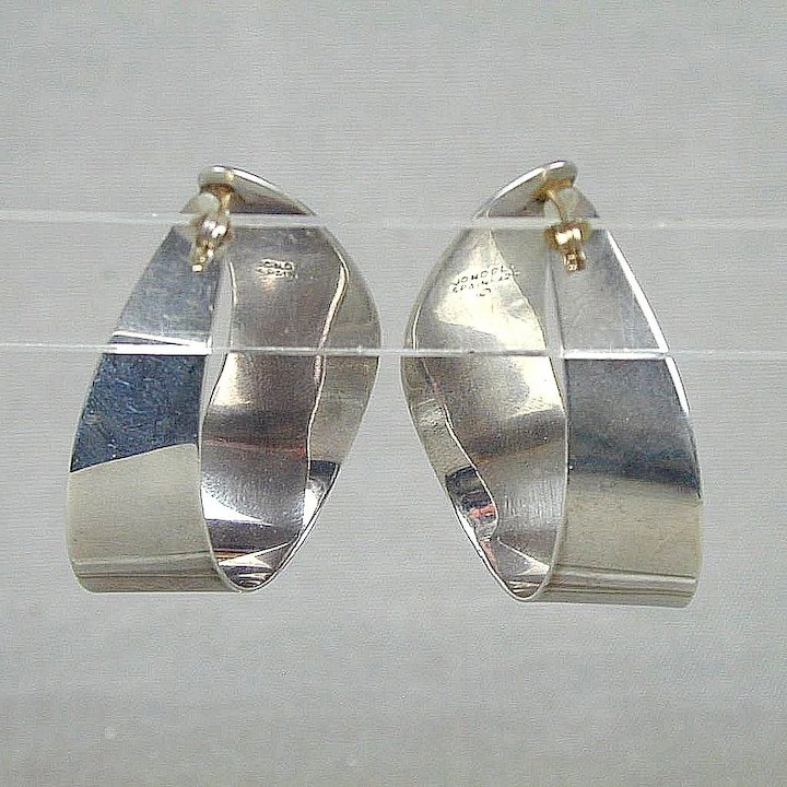 gilt modernist earrings products amazing s silver vintage fetheray statement