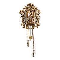 Art Deco Era Coro Pegasus Gilt Cuckoo Clock Fur Clip