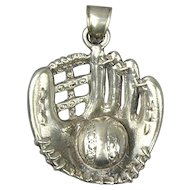 Large Vintage Sterling Silver Baseball Mitt w/ Ball Pendant Charm