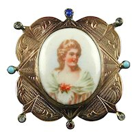 Old Victorian Gold on Silver Miniature Frame w/ Porcelain Lady