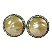 Vintage CORO Big Faux Pearl w/ Rhinestones Clip Earrings