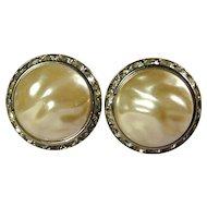Vintage CORO Big Faux Pearl w/ Rhinestones Clip Earrings