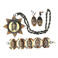 Vintage Exotic Face Copper Parure Pendant Pin Bracelet Earrings Set