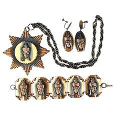 Vintage Exotic Face Copper Parure Pendant Pin Bracelet Earrings Set
