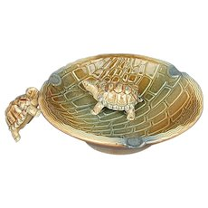 Vintage Wade Porcelain Turtle Ashtray England w/ Tagalong
