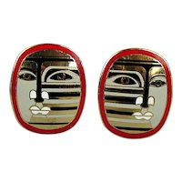Vintage Enamel Modernist Earrings - Abstract Picassoish Face