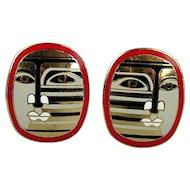 Vintage Enamel Modernist Earrings - Abstract Picassoish Face