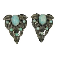 Pair Art Deco Era Clips - Turquoise Glass in Silvertone Leaves